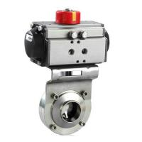 China Sanitary SS304/SS316L Pneumatic welding,Male Threaded,Tri clamped Butterfly Valve on sale