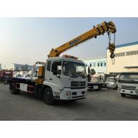 China Dongfeng Recovery 6 Ton Wrecker Tow Truck , Flatbed Tow Truck Mounted With 6.3 Ton Telescopic Crane on sale