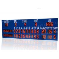 Professional LED Baseball Scoreboard With Blue Frame Cabinet 1400mm*3800mm*100mm Manufactures