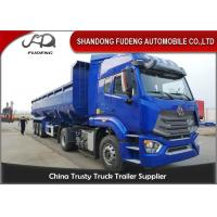 China Transport Sand Stone Coal Dump Trailer Truck 3 Axles 80 Tons In Blue And Red on sale