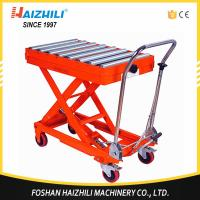 China 350kg 1300mm Hydraulic Manual Roller Top Scissor Lift Table Made In China on sale