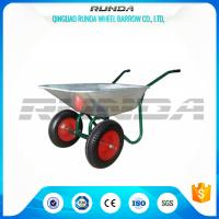 Durable Heavy Duty Wheelbarrow , Two Wheel Steel Wheelbarrow Wide Stance Legs Manufactures