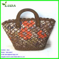 Hollow flower Paper String Beach Bags w/wood holder Manufactures
