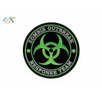 Durable Round Shape Custom Iron On Embroidered Patches With Merrow Border Manufactures
