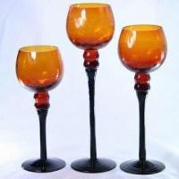 Amber Colored Glass Candle Holder with Long-stem in Black Manufactures