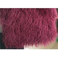 Wine Color Small Sheepskin Throw , Long Hair Windproof Tibetan Lamb Fur Pelts  Manufactures