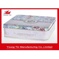China Custom Tinplate Material CMYK Printing Square Biscuit / Cookie Tin Box ISO 9001 Certification on sale