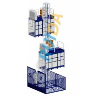 Blue Cage Of Construction Hoist Elevator , Construction Material and Personal , Single Lifting Cage Manufactures