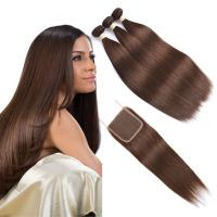 Brown  Ombre Human Hair Extensions / Straight Human Hair Weave With 4X4 Closure Manufactures