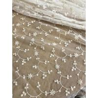Ivory Vintage Floral Nylon Lace Fabric By The Yard For Wedding Dresses 120cm Width Manufactures