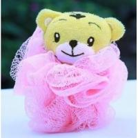PE Material Mesh Pouf Bath Sponge , Pink Kids Bath Sponge With Small Animal Manufactures