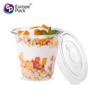 New products disposable PET clear150ml smoothie cup with flat lid for sale