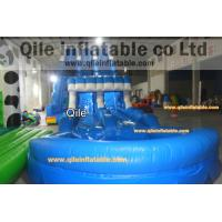 long wave slide inflatable wet & dry slide with pool,pool can removed ,double