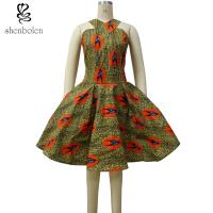 Summer Women African Print Dresses Knee Length Brown Bird Print Kitenge Manufactures