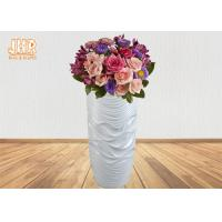 Wavy Pattern Glossy White Fiberglass Floor Vases For Artificial Plants 3 Piece Manufactures