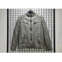 China Winter Mens PU Jacket , Pu Leather Jacket With Garment Dyed Technical on sale