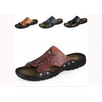 Comfortable Summer Mens Beach Slippers , Brown / Yellow Mens Slip On Slippers Manufactures