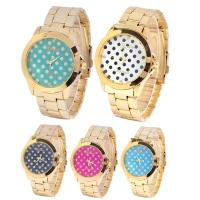 Casual Lady Gold Color Geneva Wave Point Womens Quartz Watches Wateproof Feature Manufactures