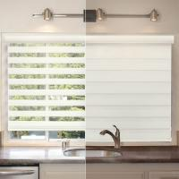 DIY Smart Battery Operated Roller Blinds , Zebra Roller Shade Dual Fabric