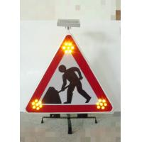 Foldable Traffic Warning Signs Portable Solar Flashing LED Lights Manufactures