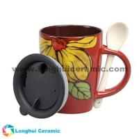 China factory/manufacturer supplied 12oz hand-painted colorful large flower ceramic coffee cup Manufactures