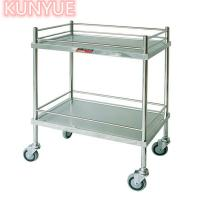 China 2 Tier Stainless Steel Metal Medical Trolley Kitchen Hospital Salon Lab Equipment on sale