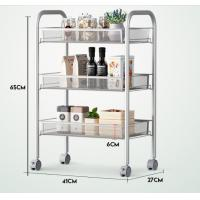 Silver Kitchen Basket Rolling Cart Wire Storage Shelves With Wheels 11