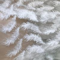 White Stretch Embroidered Mesh Lace Fabric By The Yard For Wedding Dress / Evening Dress Manufactures