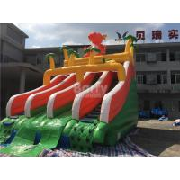 PVC Dinosaur Double Inflatable Water Slide For Pool With Landing Bed Manufactures