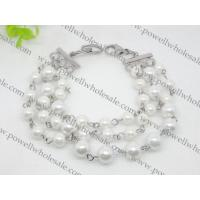 China White Pearled Stainless Steel Charm Bracelets 1430031 on sale