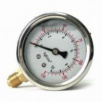 China Crimped Ring Glycerin Filled Pressure Gauge, Suitable for Harsh Environment Conditions on sale