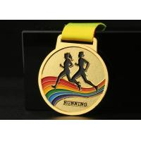 Marathon Running Race Sports Medals And Ribbons Colorful Zinc Alloy Material Manufactures