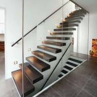 China Wholesale  frameless glass railing solid rubber wood steps build led light  floating staircase designs wood stairs on sale