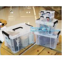 eco-friendly transparent plastic container multipurpose storage box for home, Clear Box with a White Lid and Black Latch Manufactures