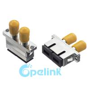 SC-FC Hybird Matching Singlemode Duplex Metal Fiber Optic Adapter With Flange Manufactures