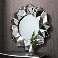Hotel Round 3D Wall Mirror 35 Inches / Customer Size Faceted Framless Design Manufactures