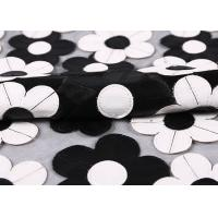 Customization Embroidery PU Mesh Lace Fabric With Black And White Flower Manufactures