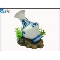 China Art Treasures China Vase Fish Aquarium Craft / Fish Tank Decorations With Resin Base on sale