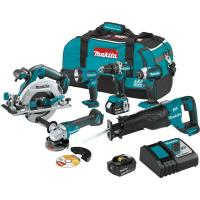 Makita 18-Volt LXT Brushless 6-Piece Kit (Hammer Driver-Drill, Impact Driver, Recipro Saw, Circular Saw, Grinder, Flash Manufactures
