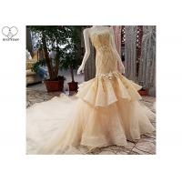 Puffy Tailor Made Prom Dresses / Champagne Fishtail Prom Dress Lace Flowers Manufactures