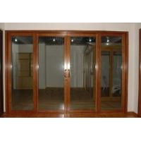 Quality Wood Color Aluminum Sliding Door with Lock for sale