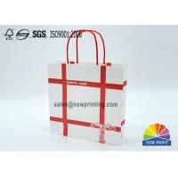 Personalized Recyclable White Custom Paper Shopping Bags With Red Rope Handle​ Manufactures