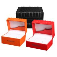 High Glossy Orange PU Leather Watch Box Custom LOGO Printing Environmentally Friendly Manufactures