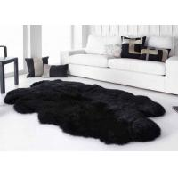 Smooth Surface Black Fur Throw Blanket , Black Extra Large Sheepskin Rug Manufactures
