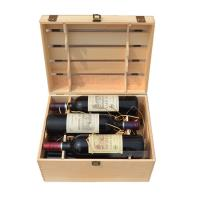 China 6 Bottles Natural Pine Wine Box Hand Made 360*265*210 Mm With FSC Certificate on sale