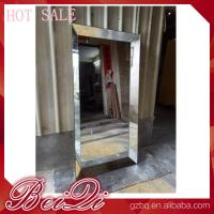 China Stainless steel mirror salon furniture hairdresser wall mounted white modern salon station on sale