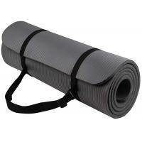 Black NBR Extra Thick Yoga Mat 70-80 Density With Strap For Gym Exercise Manufactures