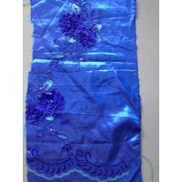 Stretch Dark Blue Sequin Embroidered Fabric With Cord Rose Flower Manufactures