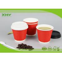 8oz 90mm 300ml Disposable Corrugated Heat-Insulated Ripple Wall Paper Cups with Lids Manufactures