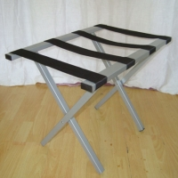 Folding Metal Luggage Rack Sliver Hotel Luggage Stand With Straight Legs Manufactures